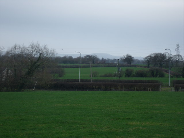 Looking across the A530 Middlewich Road Beeston is in the Distance