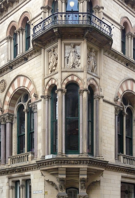 Detail of former Reform Club, King Street, Manchester