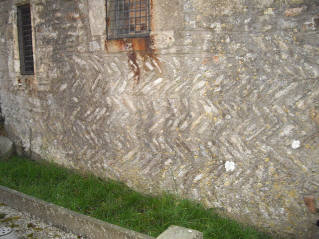 Herringbone masonry, south wall, St Peter's Church, Old Cogan
