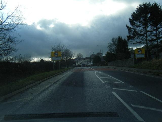 A494 at Llanferres village boundary sign