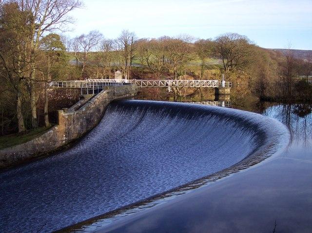 The weir on Abbeystead Reservoir