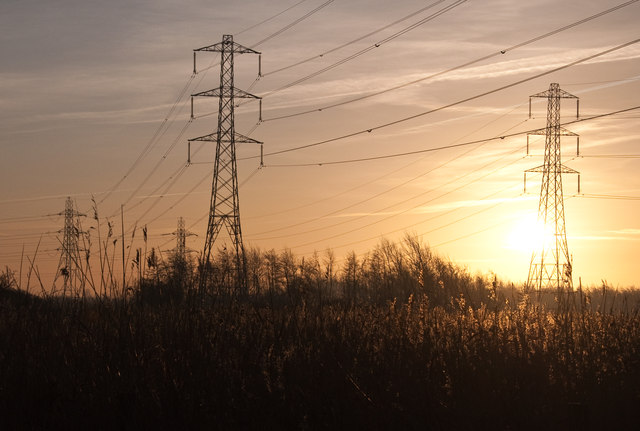Power lines through Newport Wetland Reserve - Uskmouth