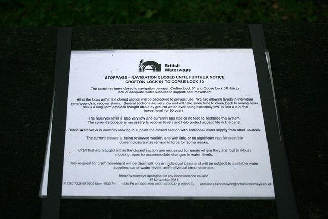 Canal closure notice