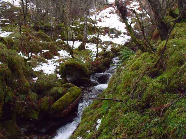 The allt from Coire nam Fraochag nearing its confluence with Allt Bhrachain above Camusvrachan in Glen Lyon