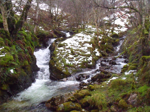 The confluence of Allt Bharchain and its tributary from Coire nam Fraochag on Carn Gorm in Glen Lyon