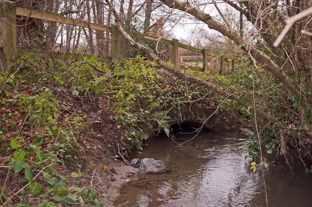 A bridge over Coney Gut near Waytown as seen from downstream