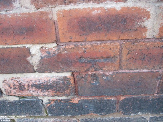Ordnance Survey Cut Mark on wall of 2 Salisbury Avenue, Armley