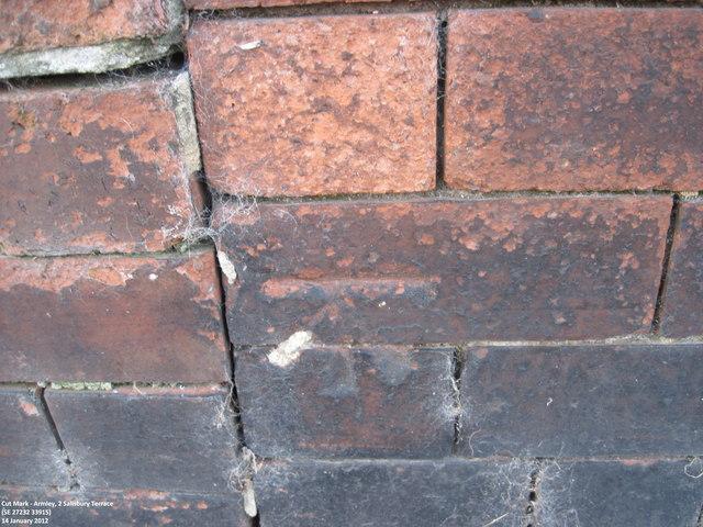 Ordnance Survey Cut Mark on wall of 2 Salisbury Terrace, Armley