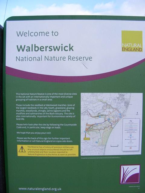 Sign & Map at Walberswick National Nature Reserve