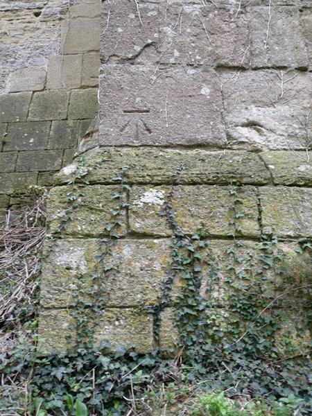 Bench mark on Caldicot castle