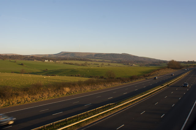 A view of the M61 from Hut Lane bridge with Winter Hill and Rivington Pike beyond