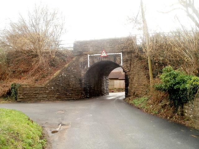 Former railway bridge near White Hart Inn, Machen