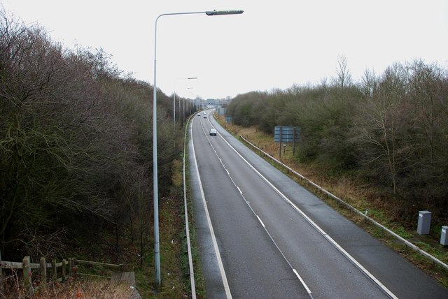 West bound M54 looking back towards the M6 Junction