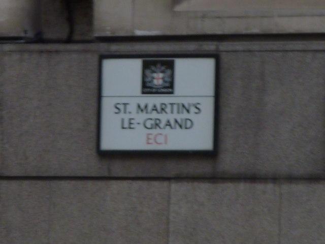 Street sign, St Martin's le Grand EC1