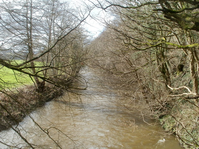 River Rhymney upstream from a footbridge at the edge of Machen Forge Trail