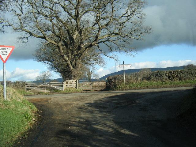 Lane junction near Llawog
