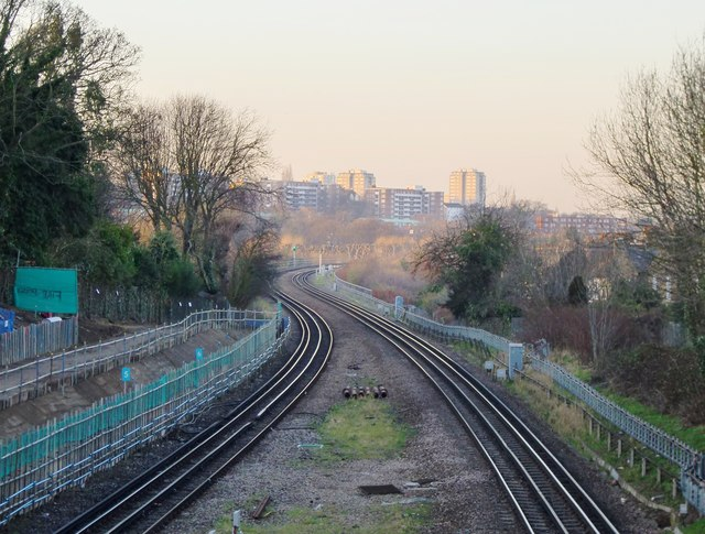 The District Line, seen from near Wimbledon Park station