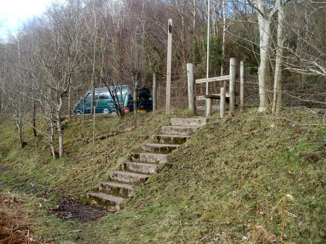 Steps up to a stile at the edge of the A468 west of Machen