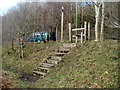ST1988 : Steps up to a stile at the edge of the A468 west of Machen by Jaggery