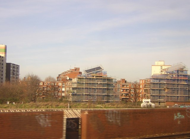 Flats with solar panels under construction, Battersea