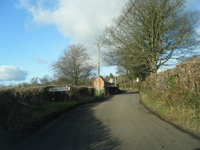 Tremeirchion village sign on B5429