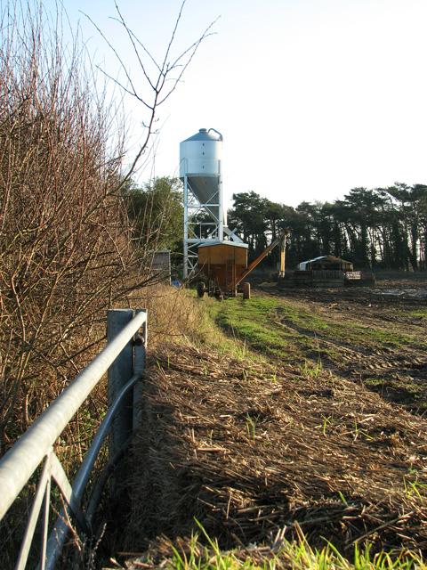 Feed silo for free range pigs, Swaffham