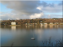 SH5873 : View over the Menai from lookout on Siliwen Road, Bangor by Meirion