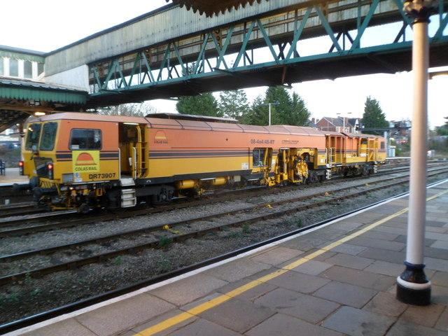 Rail tamper at Hereford railway station