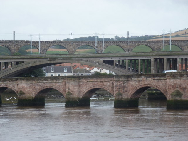 Berwick-upon-Tweed: detail of three bridges