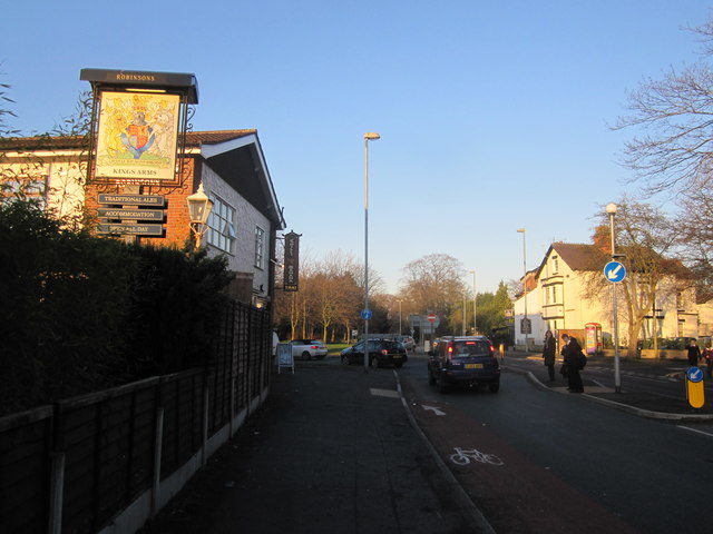 Approaching the Kings Arms roundabout, Wilmslow