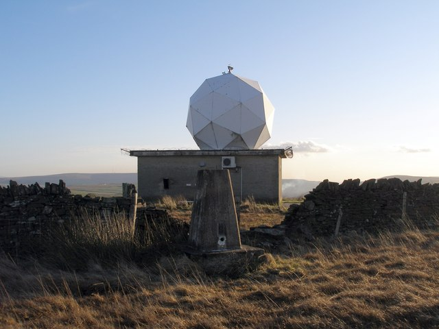 Trig point and radar weather station on Hameldon Hill
