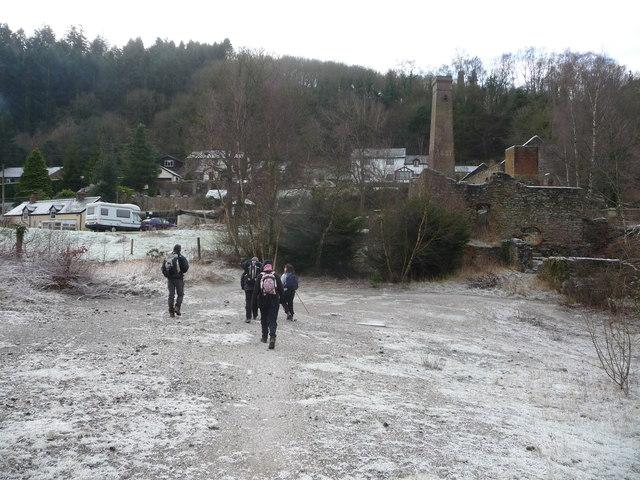 Part of Snailbeach lead mine in winter