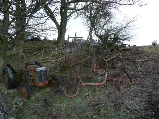 Upland field corner with old implements