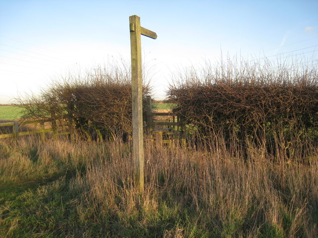 Sign for footpath to Rolleston