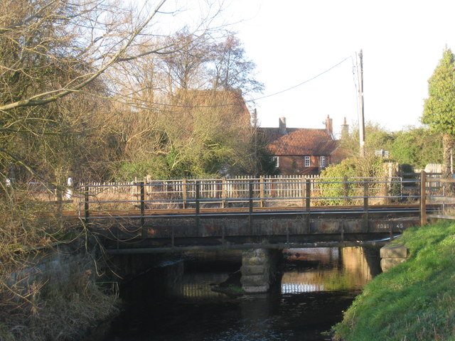 The River Greet, the railway bridge and Rolleston Mill