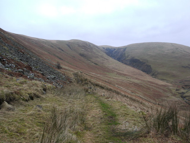 The new path descends towards the Auchencat Burn