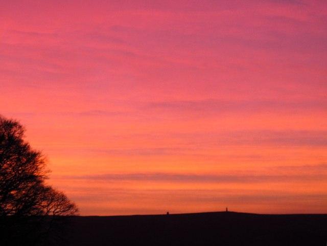 Sunset over the Allendale lead smelting flue chimneys