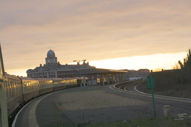Approaching sunset at Barry Docks station