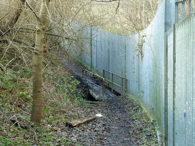 Footbridge on footpath through gasworks