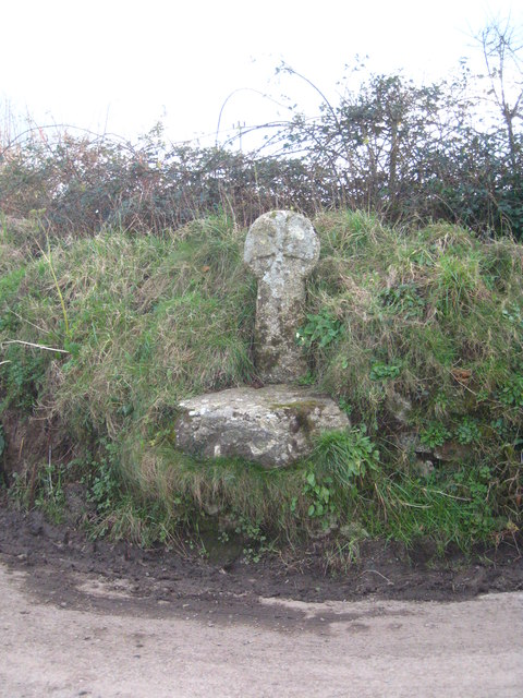 Detail of medieval wayside cross at Trevorry