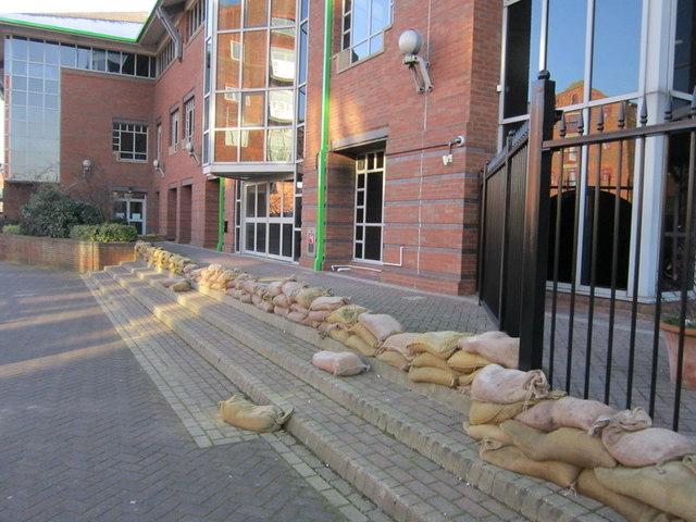 Sandbags at Asda's head office