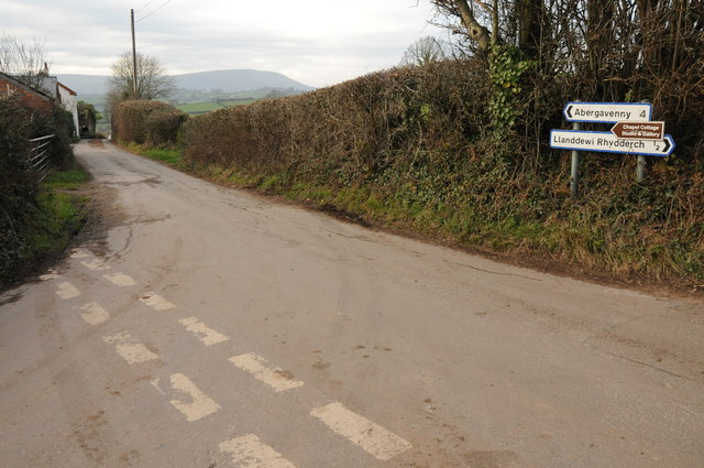 Road junction near Llanddewi Rhydderch