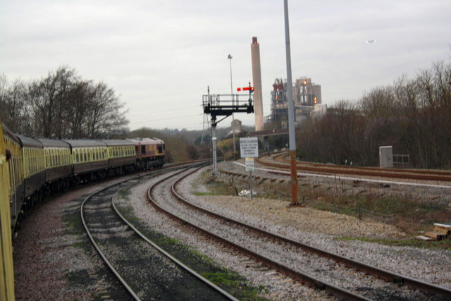 Charter train approaches Lafarge Cement Works