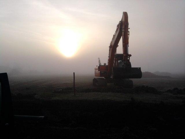 Excavator in the mist, Pulton Court wetland scheme