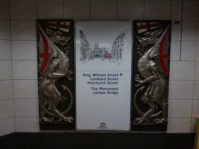 Direction sign, Bank Underground Station