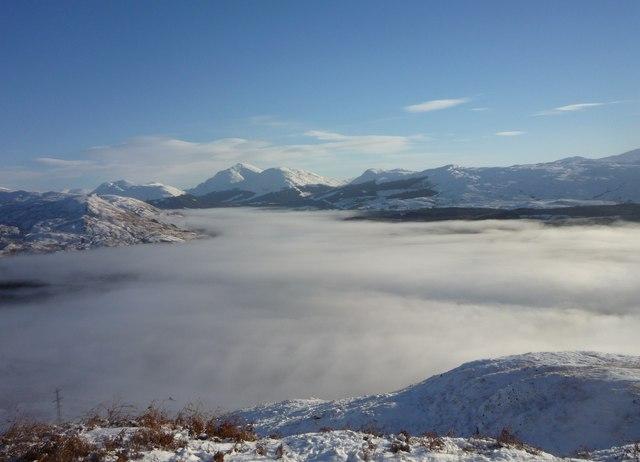 Cloud inversion fills a wintry Strath Fillan