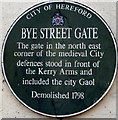 Photo of Bye Street Gate, Hereford green plaque