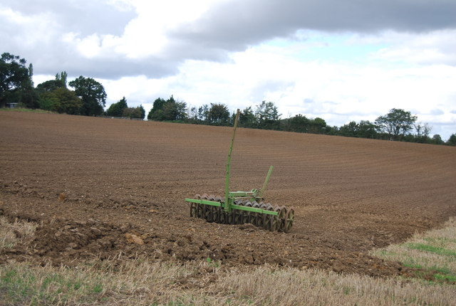 Farm machinery in a field