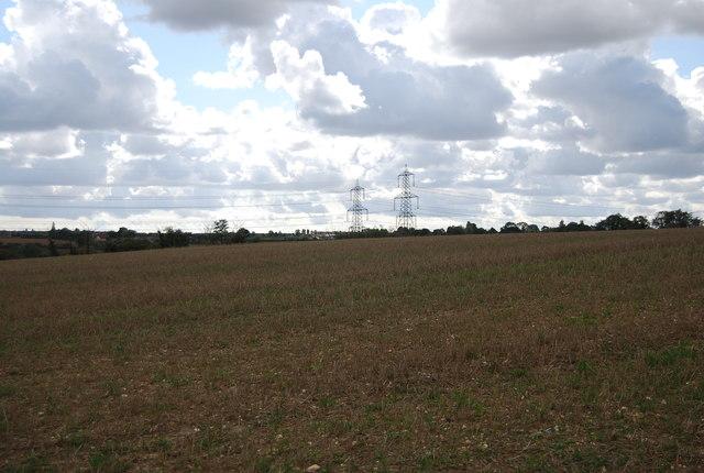 Farmland and pylons