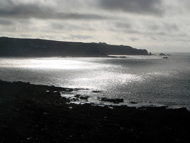 A view into the sun across Whitesands Bay